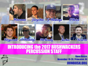 The 2017 Bushwackers Percussion Staff
